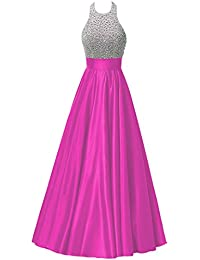 Womens Beaded Halterneck Prom Dress With Pocket Satin Long Evening Gown