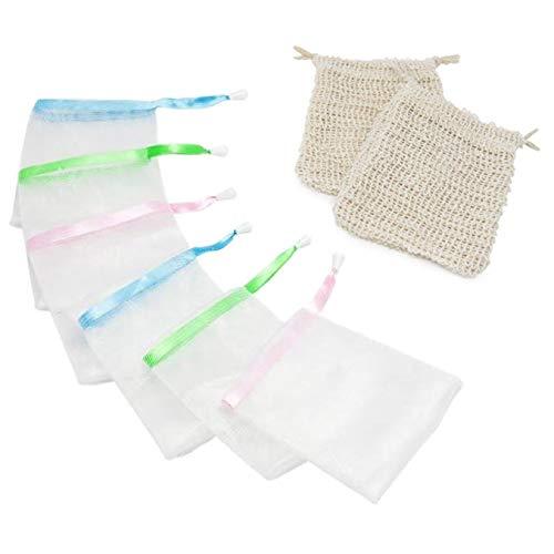 Amazy Set de Fundas para jabón - 8 prácticas bolsas de jabón para sacar mayor espuma del jabón y de los restos de jabón (6 de nylon   2 de sisal)