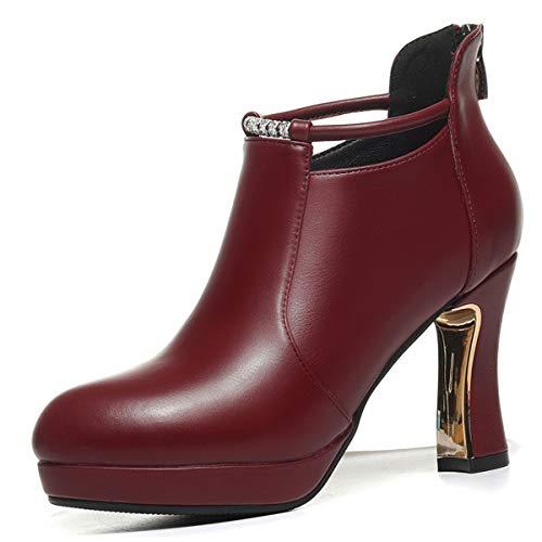 Ajunr De Transpirable Invierno Casual Ladies Profunda Boca Gules Otoño En Shoes Cuero Mujer E Zapatos Directo Y High Duro Heel r4rnRqF