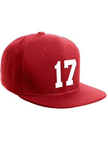 - Classic Flat Bill Visor Snapback Hat Custom Color Player Team Numbers, Number 17 White, Red Hat