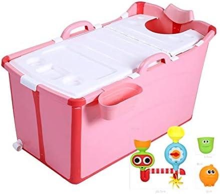 ポータブルアダルト折りたたみバスタブ自立スパジャグジーバスプール (Color : Pink)