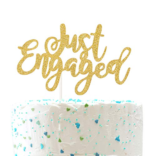 - Just Engaged CakeTopper for Engagement Wedding Party Decorations,Engaged AF Sign (Double Sided Gold Glitter)