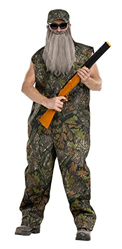 (Fun World Men's Duck Hunter Coveralls Camo Beard Costume, Multi,)
