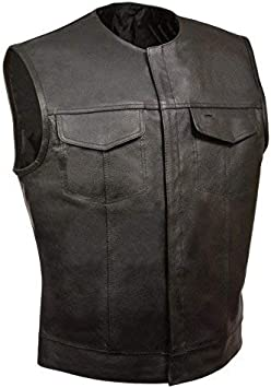 4XL, BLACK Mens SOA Collarless Leather Vest Motorcycle Biker Club Concealed Carry Outlaws