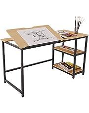 SogesHome Adjustable Drafting Table Tiltable Draft Desk Drawing Table Adjustable Height Art Table Craft Workstation, with Storage Shelves, Teak, NSDCA-UT-012
