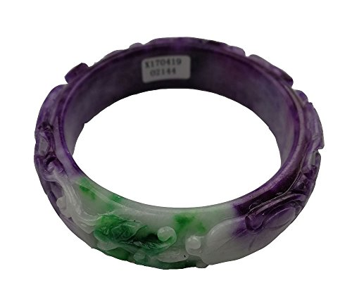 Women Nature Handmade Three-Dimensional Carving Green Lavender Purple Jade Jadeite Bracelet Bangle 61mm #A2144