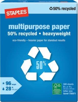 Staples 50% Recycled Heavyweight Multipurpose Paper, Ream