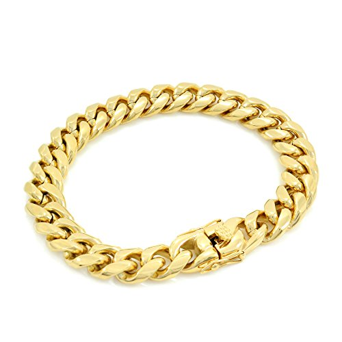 Solid 14k Yellow Gold Finish Stainless Steel 12mm Thick Miami Cuban Link Chain Box Clasp Lock (Bracelet 8'')