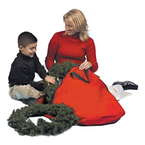 St. Nicks Choice 24'' Red Durable Christmas Wreath or Spiral Tree Protective Storage Bag w/Handles by St. Nicks Choice
