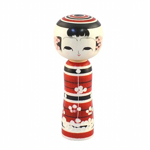 SELECTIA Japanese Kokeshi-Doll Wooden Handcrafted Ume-emaki Hand-Made Wonderful Gift for Kokeshi Doll Collector Lover 1 (Red)