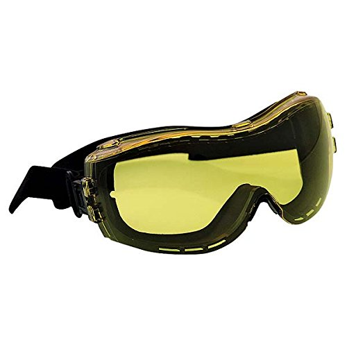 (Ironwear Hope 3930 Series Nylon Protective Safety Goggles with Adjustable Nylon Strap, Amber Lens, Black Frame (3930-A))