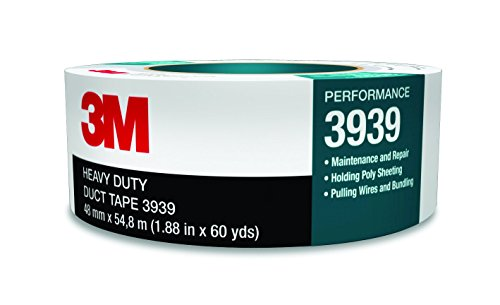 3M Heavy Duty Duct Tape 3939 Silver, 48 mm x 54.8 m 9.0 mil, Conveniently Packaged (Pack of 1) 3 Duct Tape