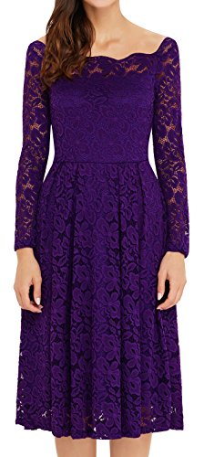 Purple Dresses Bridesmaid Lace Evening Swing Dress Classical 1950's Newbely Cocktail Vintage xUqw1fxv