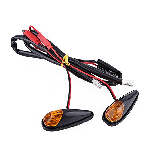 12V Motorcycle Flush Mount LED Turn Signal Light, 2 pcs/pair Keenso Universal Motorbike Indicator Lamp Amber Light Front Rear Blinker Indicator Light, Black Shell: