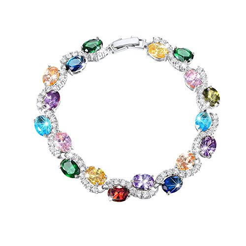 U7 Women Birthstone Crystal Bracelet 18K Gold Plated Round Cut Cubic Zirconia Tennis Bracelet, 7.5 Inch (Mixed Color Stones - Platinum Plated)