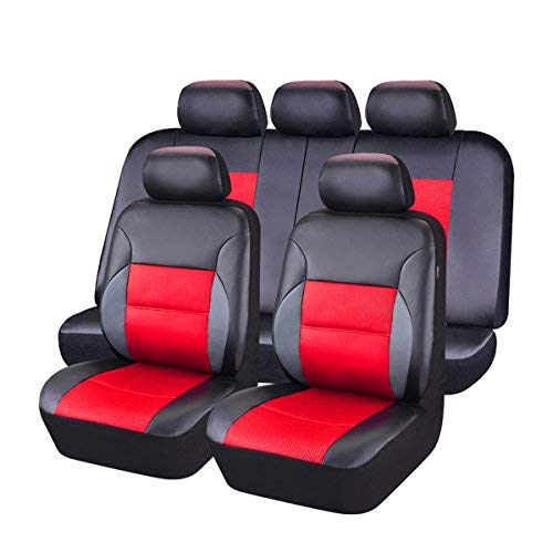 NEW ARRIVAL- CAR PASS 11PCS Luxurous Leather Universal Car Seat Covers Set,Universal fit for Vehicles,Cars,SUV,Airbag Compatible (Black And Red)