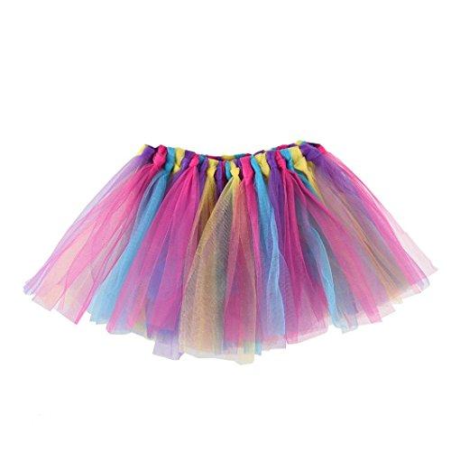 Auwer- Tutu Skirt Summer Little Girls Layered Rainbow Tutu Skirts Dance Fluffy Tutu Skirt Pettiskirt Ballet Costume (C) ()