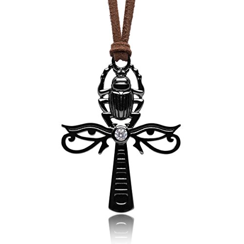 Karsee Ankh Cross Charm Pendant Necklace Horus Eye and Egyptian Scarab Integrated Shiny Black Jewelry Gifts Unisex Brown Adjustable Sliding Knot Leather Cord, Gun Black