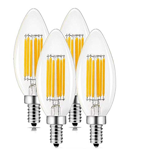 CTKcom 4-Pack 6W Candelabra LED Bulbs,E14 Dimmable COB LED Filament Candle Light Bulb,2700K Warm White 600LM,60W Incandescent Equivalent,Antique Light Bulb Energy-Saving Lamp for Light Fixtures