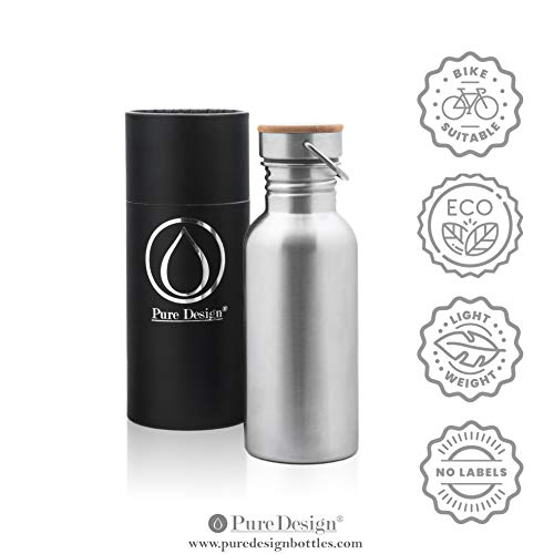 - PureDesign Stainless Steel Plastic Free Water Bottle for Kids 17oz / 500ml / 0.5L. Leak Proof Single Wall Bottle with Bamboo Cap