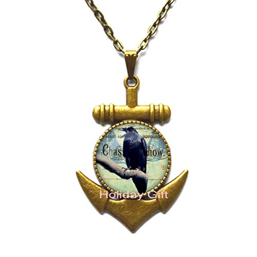 (Fashion Anchor Necklace,Retro Cothic Raven Crown Glass Cabochon Anchor Pendant Black Chain Anchor Necklace Ouija Board Man Woman Dome Halloween Jewelry Friend Gift,H013)