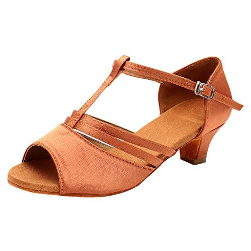 (Women's Low Heel Buckle Dance Shoes Fashion Fish Mouth Open Toe Sandals Latin Dance Tango Practice Shoes MEEYA Brown)