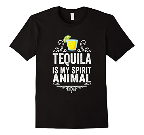 Men's Tequila Is My Spirit Animal T-Shirt - Funny Drinking Tee 3XL Black