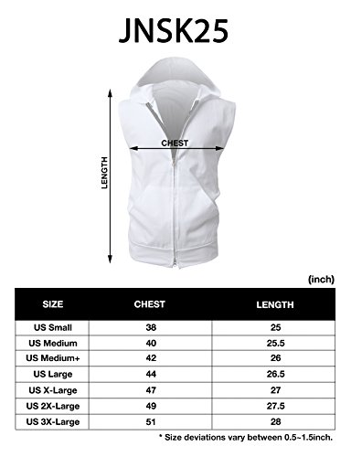 H2H Men's Casual Hooded Sleeveless Tank Tops Cotton Sleeveless T-shirts WHITE Asia XXXL (JPSK13_N25) by H2H (Image #5)
