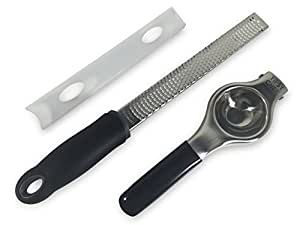 Premium Quality Stainless Steel Citrus Press & Zester Cheese Grater Bundle Pack Tipsy Chef Products
