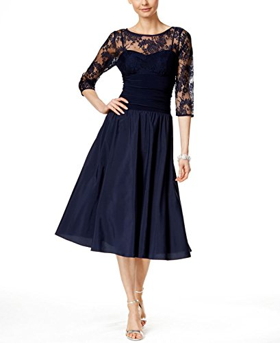 Jessica Howard Women's Three-Quarter-Sleeve A-Line Dress Navy 14