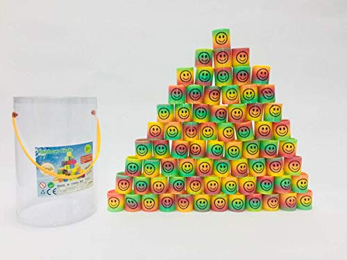 PowerTRC 72 Pcs Mini Emoji Rainbow Springs | Bulk Set of Assorted Rainbow Magic Coil Spring for Birthdays, Party Favors, Gifts -