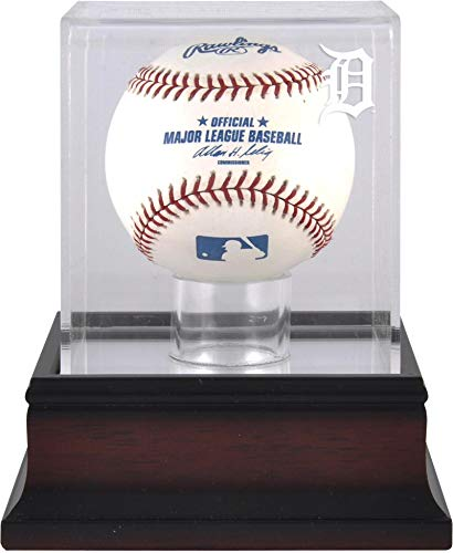 Detroit Tigers Antique Mahogany Baseball Logo Display Case