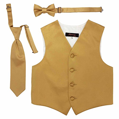 Spencer J's Boys Formal Tuxedo Vest Tie Bowtie Set Variety Colors (11-12, Gold)
