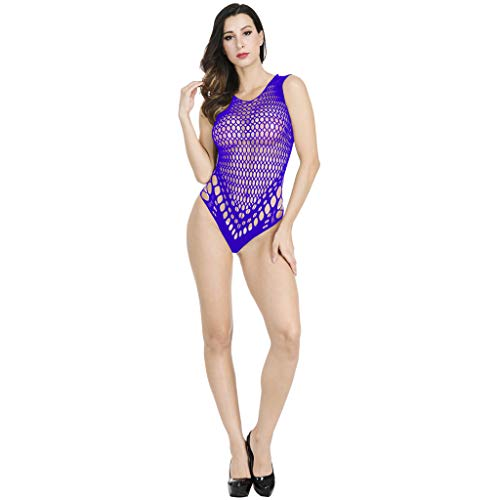 AxiBaWomen's Halter Plus Size Lace Lingerie Keyhole Mesh Stretch Babydoll Chemise with Garters (,Purple) by AxiBa Underwear (Image #4)