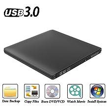 BENGOO External CD DVD Drive Ultra Slim Aluminum with USB3.0/2.0/1.1 Ports CD/DVD-RW Writer Burner for Apple Mac Pro Air iMAC Win10 and Other Non-apple Laptops/Desktops-Black