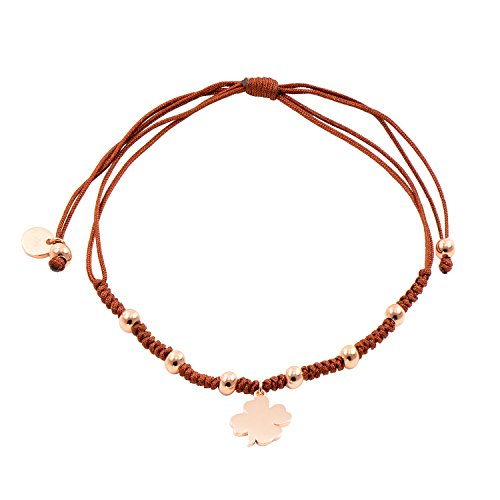 Paialco Sterling Silver Lucky Clover Leaf Charm Brown Strings Braided Bracelet, 14K Rose Gold Plating