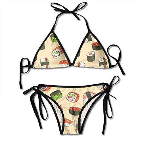 Sushi with Red Caviar Womens Sexy Triangle Beachwear Swimwear Thong Bikini Sets