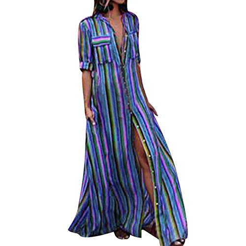 iLUGU Turndown Collar Half Sleeve Maxi Dress for Women 3 Color Vertical Stripes Full Button Jean Dress Blue ()