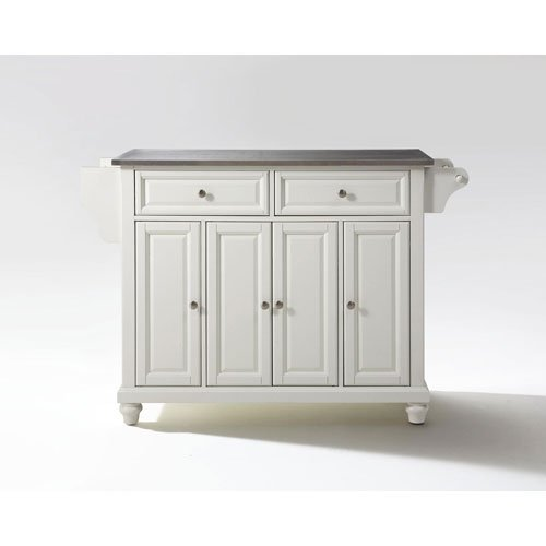 251 First Grace Stainless Steel Top Kitchen Island in White Finish