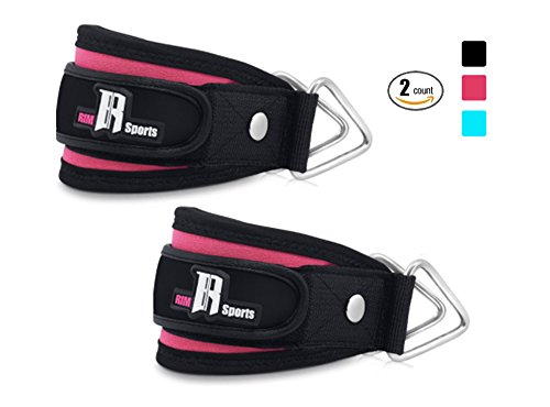 Round Twin Leg (Pair of Cable Ankle Straps For Workout Kickback Gym Equipment Best Leg Strap For Ankle-Ideal For Workout Gear And Equipment-Premium Cable Attachments For Gym-Quality Ankle Strap For Women And Men Pink)