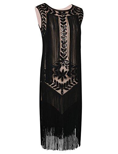 Flapper 1920s Inspirado de Vestido Negro Lentejuela Beige Anos Con Mujeres Flecos PrettyGuide 48EYz8