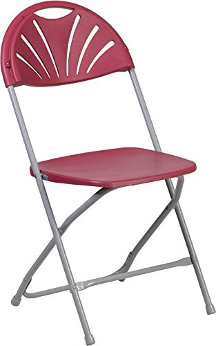 Burgundy Plastic Folding Chair (4 PACK 800 Lbs Capacity Commercial Quality Fan Back Burgundy Plastic Folding Chair)