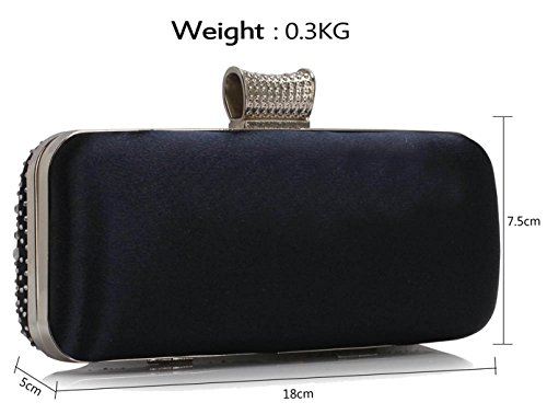 Sparkly Evening Crystal Gorgeous Navy FREE Bag DELIVERY UK Satin xTOqnIR