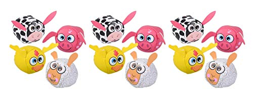 Farm Early Childhood Game - Curious Minds Busy Bags Bulk - 12 Cute Farm Animal Kick Balls - Sack Footbag Game Balls - Cute Party Favors or Classroom Rewards (Set of 12 (1 Dozen))