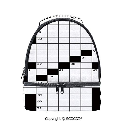 - SCOCICI Large Capacity Durable Material Lunch Box Blank Newspaper Style Crossword Puzzle with Numbers in Word Grid Decorative Multipurpose Adjustable Lunch Bag