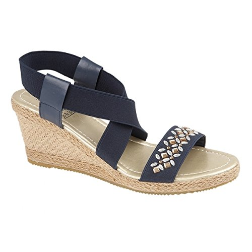 a910d95da3e3 Shumo MARIETTA Ladies Strappy Wedge Heel Sandals Navy UK 8  Amazon.co.uk   Shoes   Bags