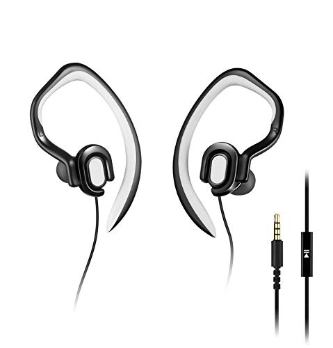 MUCRO Light Sports Headphones Wired with Detachable Earhook, Sweatproof Earphones with Microphone for Gym Workout Jogging Running, Over The Ear HD Stereo in Ear Earbuds (Black)