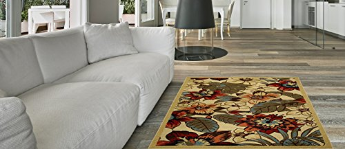 Anti-Bacterial Rubber Back AREA RUGS Non-Skid/Slip 5x7 Floor Rug | Multicolor Floral Garden Indoor/Outdoor Thin Low Profile Living Room Kitchen Hallways Home Decorative Traditional Area Rug (Color Multi Rectangular Indoor Rugs)