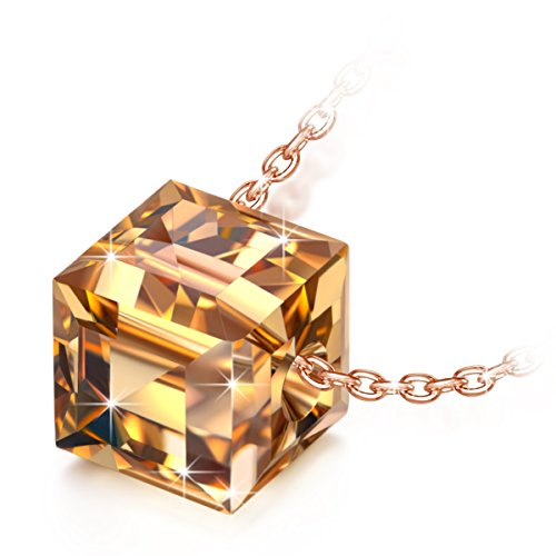 NINASUN Rose Gold Necklace Anniversary Gifts for Her Swarovski Crystal Fine Jewelry s925 Sterling Silver Cube Pendant Necklace Rising Sun Christmas Birthday Present for Girlfriend Wife Sister Daughter from NINASUN