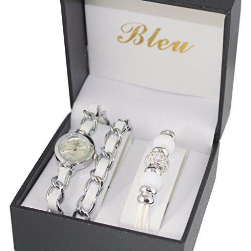 Charms perlas-Estuche de regalo con reloj para mujer doble ...